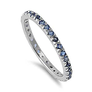 Sterling Silver 2MM Simulated Blue Sapphire Eternity Ring - Size 10