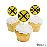 Train Railroad Crossing Sign Cupcake Picks - 25 pcs