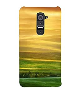 PrintVisa Yellow And Green Scenic Design 3D Hard Polycarbonate Designer Back Case Cover for LG G2