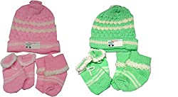 NammaBaby Baby Woolen Caps Mittens Booties Set for New Born Pack of 2 - (0-6 Months)