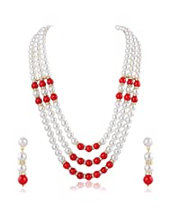 Oviya Fashion Jewellery White & Red Chain With Pearls For Women NL2103131G