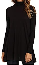 Lolichy Fashion Flared Hemline Black Tunic Tops Women with Long Sleeve
