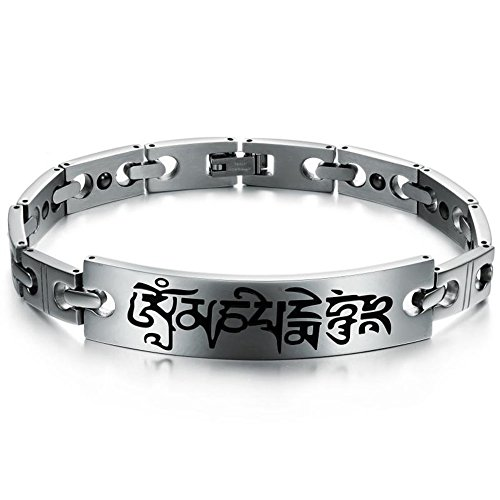 Bemaystar Vintage Men'S Titanium Stainless Steel Bracelets Chain Link Simple Wristband Silver