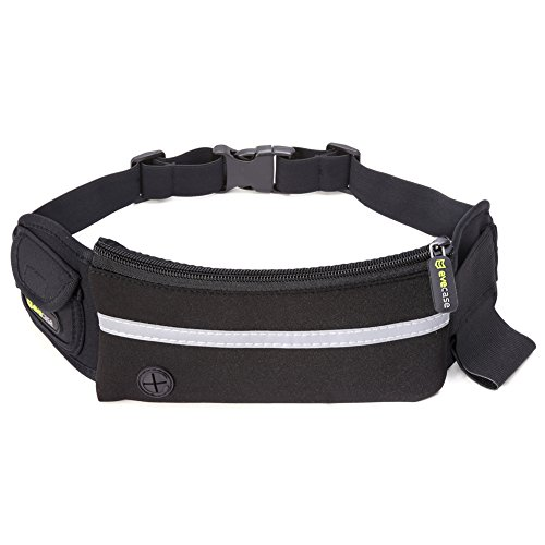 Waist-Bag-Evecase-Outdoor-Running-Fitness-Sweatproof-Belt-Waist-Pack-Bag-for-Jogging-Exercise-Hiking-fits-with-iPhone-6S-SE-6s-Plus-Samsung-Galaxy-Smartphone-and-More-Black