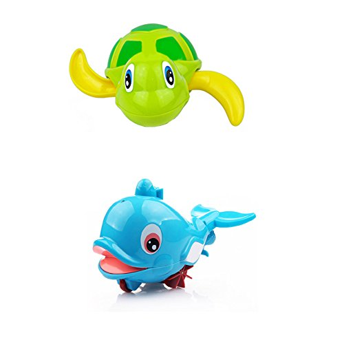 Fajiabao Bathtime BPA Free Swimming Turtle Squirt Bath Buddies Toys Dolphin Floating Animals Bathtub Bath Fun Toy for Kids Toddlers Birthday and Christmas Gift , Set of 2 - 1