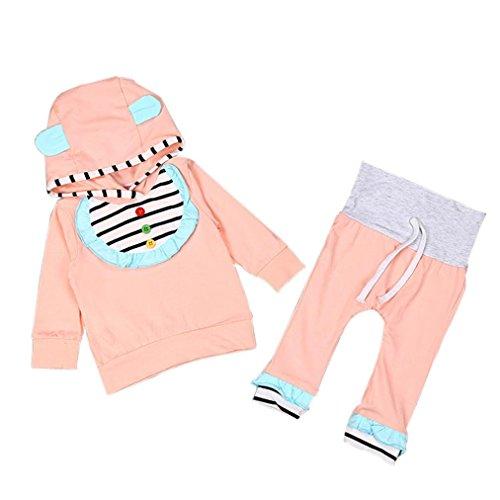 Culater® Neonata appena nata Outfit manica lunga con cappuccio, T-shirt + Pants (70)