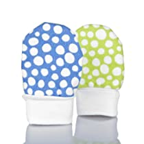 No Scratch Baby Mittens: Colorful Dots - Blue and Lime Green, 0 - 6 Months