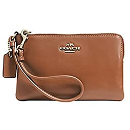 Coach Smooth Leather Corner Zip Wristlet - Light Gold/Saddle