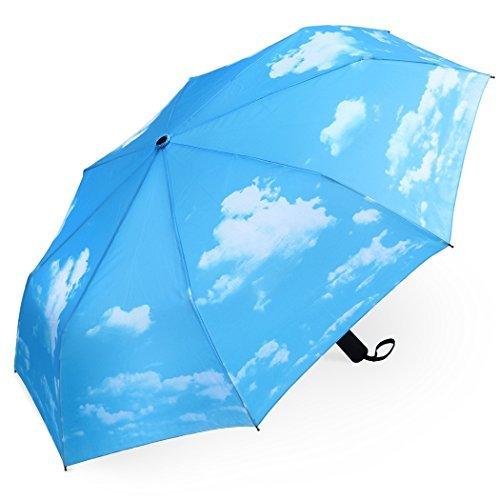 PLEMO Ombrello Pioggia Pieghevole Mini Resistenti Automatico da Viaggio Borsa, Cielo Blu