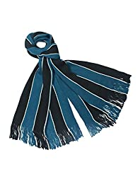 Dahlia Men\'s Acrylic Long Scarf - Vertical Awning Stripes - Blue/Black