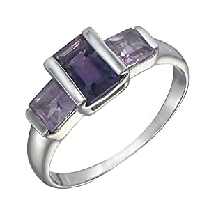 Vir Jewels Sterling Silver Amethyst 3 Stone Ring (2 CT) In Size 5