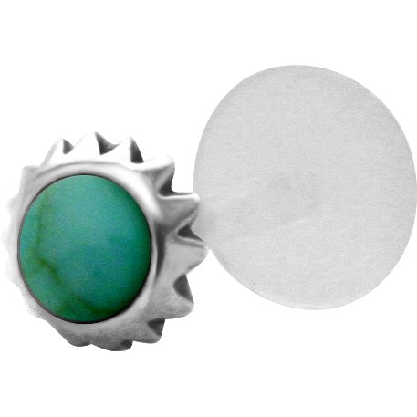 Green Cabochon Tribal Sun Sterling Silver & Bioplast Tragus Earring or Labret Lip Stud