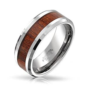 Bling Jewelry Wood Inset Tungsten Beveled Edge Ring 8mm