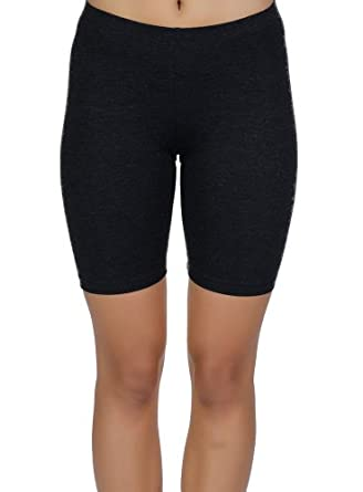 Womens Combed Cotton Basics 7 Inch Bike Short by In Touch, Black - Small