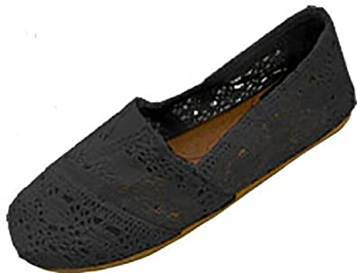 Womens Canvas Crochet Slip on Shoes Flats (5/6, Black 3008)
