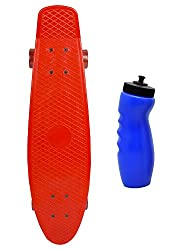 YONKER Plastic Skateboard with Aluminium Alloy Trucks Synthetic Wheels with Bearings for Kids Senior Size Skateboard ( 71x19 cm) Red Color WITH Food Grade Plastic Banana Finger Sipper For Kids 700ml (Assorted Color)