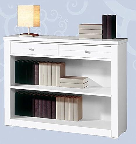 Meuble Bibliothèque avec 2 tiroirs en MDF, 79 x 100 x 30 cm -PEGANE-