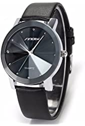 SINOBI Crystal Elegant Mens Women Black Quartz Leather Wrist Quartz Watch Gift SNB021