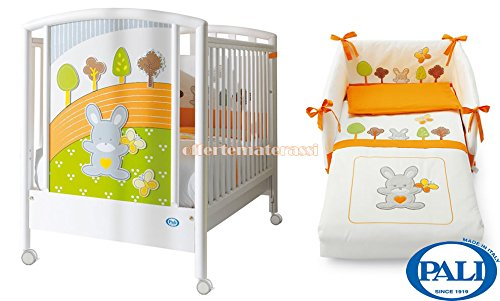 Lettino Pali Smart Bosco + Set tessile Arancio sfilabile
