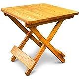 Square Teak Finish Wooden Folding Garden Side Table - Indoor / Outdoor