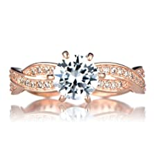 buy Twisted Cz Engagement Ring - Rose Goldtone
