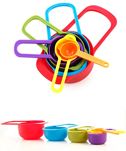 6 Pc Set of Plastic Nested Measuring Cups and Spoons. for Dry and Liquid Ingredients.Stackable Space Saving Multicolor Design (Multi-color, Set of 6, 3.5 Oz / 100 G). (Bright Spring Measuring Spoons compare prices)