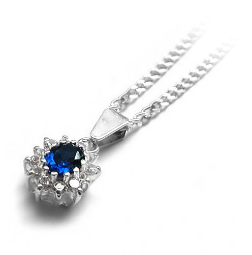 Sterling Silver Necklace with Sapphire