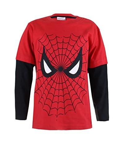 MARVEL Longsleeve Spiderman Web [Rosso/Nero]