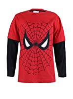 ZZ-Marvel Camiseta Manga Larga Spiderman Web (Rojo / Negro)