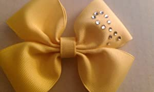 BOW - SOLID COLOR (YELLOW) AWARENESS with Rhinestone Awareness Ribbon - Little Girls Bow on alligator clip- Check Out My Other Items! This Item Is Perfect to Use As Gifts, Party Favors or as a Fundraiser for Your Team - Contact Me for Bulk Fundraising Orders ----- - Make sure you check out my other items!!