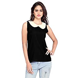 Ossi Regular Fit Black Plain / Solid Sleeveless top (HS3064-L)