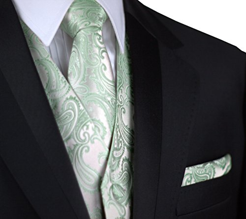 Italian Design, Men's Tuxedo Vest, Tie & Hankie Set in Sage Paisley (Mens Sage Green Ties compare prices)