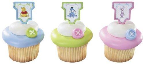 Winnie The Pooh, Piglet And Eeyore Polka Dot Baby Onesie Cupcake Picks - 12 Ct