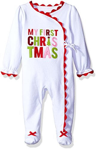 Mud Pie Baby Girl Holiday One Piece Playwear Set Long Sleeve, First Christmas, 0-3 Months
