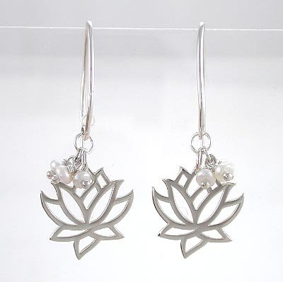 Cut Out Design Lotus Flower Dangle Earring in Sterling Silver with Pearl Gemstone Beads, #8372