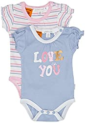 Pumpkin Patch Baby Girls' 2 Pack Love You Print and Stripe Bodysuits, Blue Allure, 3-6 Months