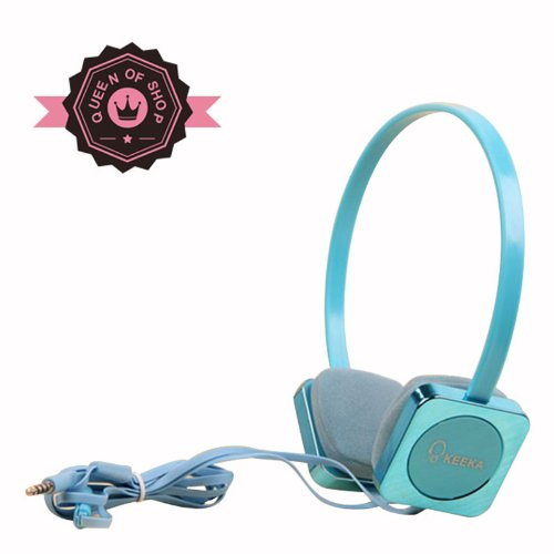 Ke700 Blue Cute Metal Gloss 40 Mm Speaker Adjustable Over Ear Headphone For Pc Mp3 Mp4 Ipod With Microphone