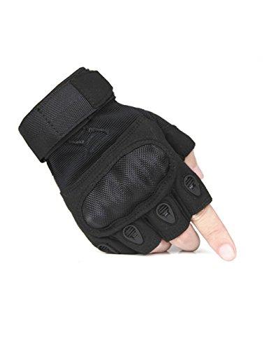 FREE SOLDIER Outdoor Men Military Hard Knuckle Half Finger Glove Tactical Armor Gloves (Black Large)