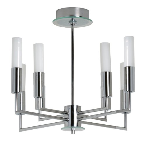 TP24 Roseau 8 Arm Ceiling Pendant in Chrome and Glass Finish