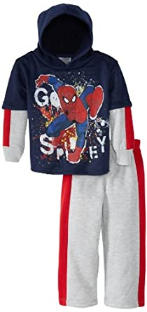 Marvel Little Boys' Ultimate Spiderman Spidey Goes Fleece Set, Navy, 2T