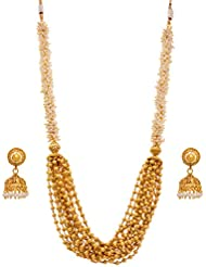 JFL - Traditional Ethnic One Gram Gold Plated Gold Bead Multi Strand Designer Long Necklace Set With Pearls And...
