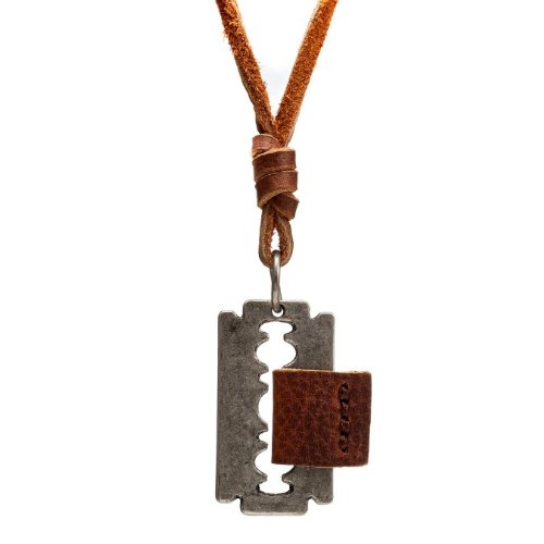 Vintage Desert Tranquility Mens Razor Pendant Leather Chain Necklace