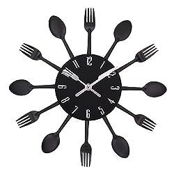 UNIQUEBELLA Cutlery Wall Clock, Fork & Spoon Kitchen Decoration Kitchen Home, 33 x 33 cm Black