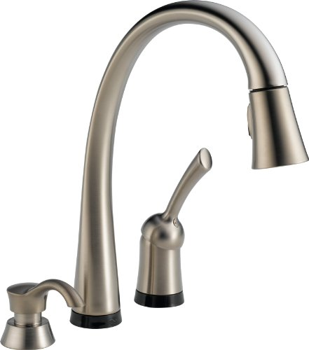 Delta Pilar 980T-SSSD-DST Single Handle Pull-Down Kitchen Faucet with Touch2O Technology and Soap Dispenser, Stainless