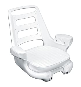 "Moeller Heavy Duty Extra-Wide Ladder Back Boat Helm Seat, Cushion, and Mounting Plate Set (25.25"" x 22.75"" x 20"", White)"