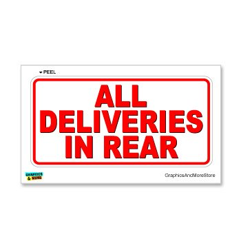 All Deliveries in Rear - Business Store Sign - Window Wall Sticker (Delivery Package compare prices)