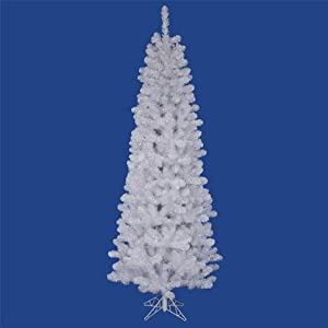 #!Cheap 5.5 ft. Artificial Christmas Tree - Classic PVC Needles - White - Salem Pencil Pine - Unlit - Vickerman A103255
