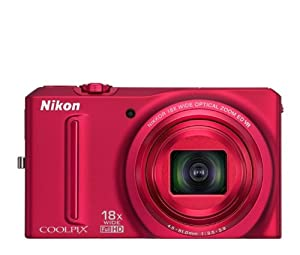 Nikon COOLPIX S9100 12.1 MP CMOS Digital Camera with 18x NIKKOR ED Wide-Angle Optical Zoom Lens and Full HD 1080p Video (Red)