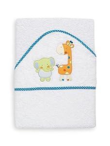 INTERBABY 01061-20 - toalla con capucha, ¿por qué los elefantes / jirafas, 1 x 1 m, Color: Blanco / Turquesa - BebeHogar.com