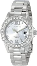 Invicta Pro Diver Crystal Accented Women's Quartz Watch with Silver Dial Analogue Display and Silver Stainless Steel Bracelet 15251